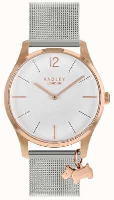 Radley Senhoras assistem caso de ouro rosa pulseira de malha de prata RY4355