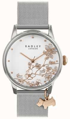 Radley Senhoras pulseira de malha de prata em aço inoxidável | mostrador branco | RY4347