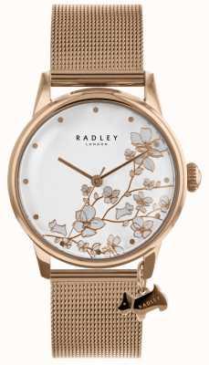 Radley Senhoras rosa banhado a ouro pulseira de malha de aço inoxidável assistir RY4348