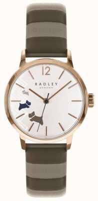 Radley Cão de dados de senhoras subiu dial de cetim ouro RY2674
