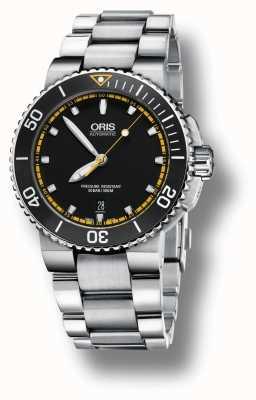 Oris Aquis data pulseira de aço inoxidável automático mostrador preto 01 733 7653 4127-07 8 26 01PEB