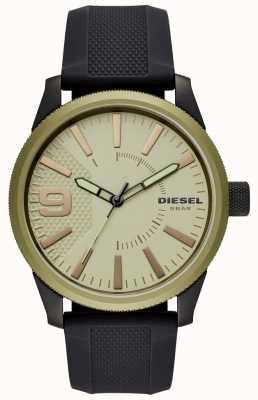 Diesel Mens grosa relógio pulseira de borracha preta DZ1875