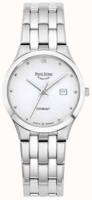Bruno Sohnle Womens florenz | mostrador branco | pulseira de aço inoxidável 17-13197-252