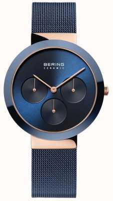 Bering Cerâmica | caixa de ouro rosa polido | mostrador azul 35036-367