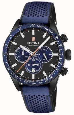 Festina Mens cronógrafo mostrador preto pulseira de couro azul F20359/2