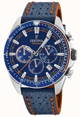 Festina Mens cronógrafo azul mostrador pulseira de couro azul F20377/2