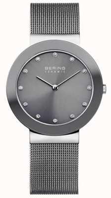 Bering Mostrador cinzento pulseira de malha de cerâmica cinza 11435-389