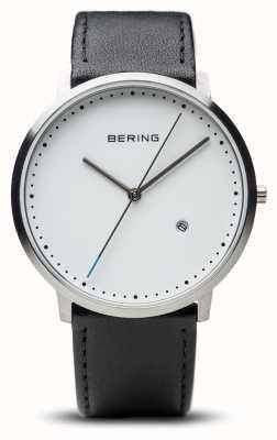 Bering Alça de couro preto unisex de mostrador branco 11139-404