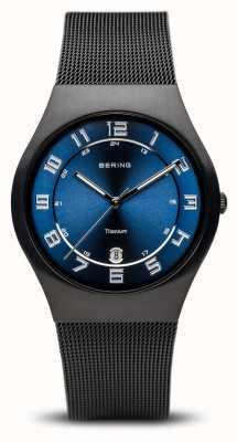 Bering Titânio | mostrador azul preto escovado 11937-227