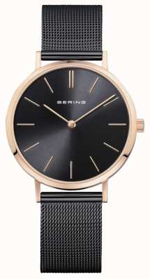 Bering Relógio clássico para senhoras em preto rosa dourado 14134-166