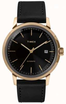 Timex Mens pulseira de couro preto automático mostrador preto TW2T22800