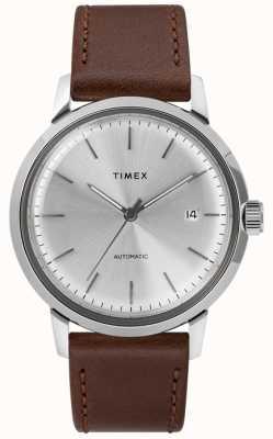 Timex Mens pulseira de couro marrom automático mostrador prateado TW2T22700