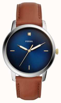 Fossil Mens minimalista relógio pulseira de couro marrom mostrador azul FS5499