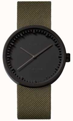 Leff Amsterdam Relógio de tubo d38 cordura caixa preta fosca pulseira verde LT71014