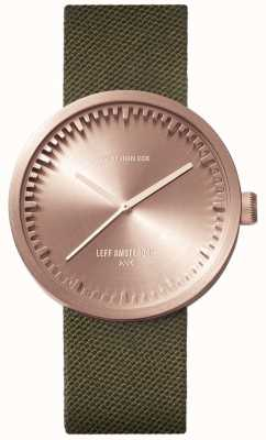 Leff Amsterdam Relógio de tubo d38 | cordura ouro rosa | cinta verde LT71034