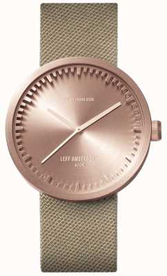 Leff Amsterdam Relógio de tubo d38 | cordura ouro rosa | tira de areia LT71033