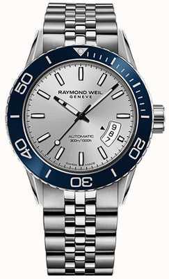 Raymond Weil Mens freelancer automático mergulhador pulseira de aço inoxidável 2760-ST4-65001