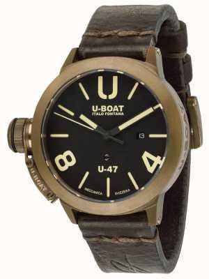 U-Boat Bracelete de couro castanho automático Classico u-47 7797