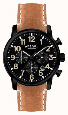 Rotary Mens pulseira de couro de quartzo cronógrafo mostrador preto GS00433/04