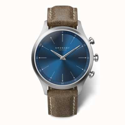 Kronaby 41mm sekel mostrador azul pulseira de couro de trufa a1000-3759 S3759/1