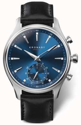 Kronaby 41mm sekel mostrador azul pulseira de couro preto a1000-3758 S3758/1