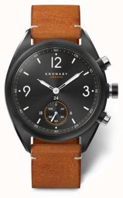 Kronaby Mens apex 41 bluetooth dial preto, couro marrom A1000-3116