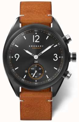 Kronaby Mens apex 41 bluetooth discagem preta, couro marrom a1000-3116 S3116/1