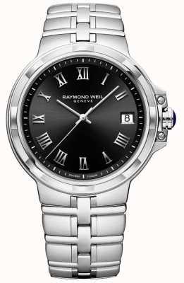 Raymond Weil Mens parsifal pulseira de aço inoxidável mostrador preto 5580-ST-00208