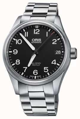 Oris Grande piloto de coroa | pulseira de aço inoxidável 01 751 7697 4164-07 8 20 19