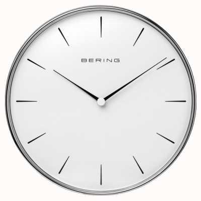 Bering Relógio de parede com mostrador branco em aço inoxidável 90292-04R
