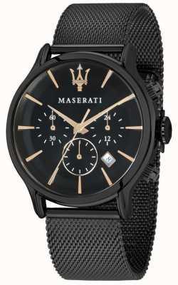 Maserati Mens epoca 42mm | mostrador preto | pulseira de malha preta R8873618006