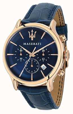 Maserati Mens epoca 42mm | mostrador azul | pulseira de couro azul R8871618007