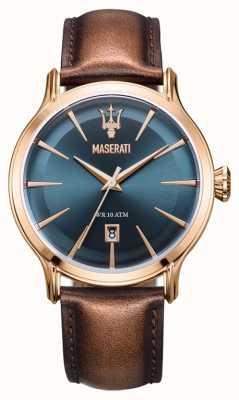 Maserati Mens epoca 42mm | mostrador azul | pulseira de couro marrom R8851118001
