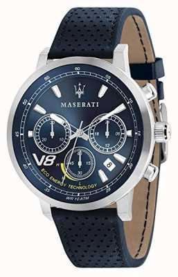 Maserati Mens gt 44mm | caixa de prata | mostrador azul | couro azul R8871134002
