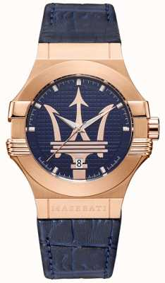 Maserati Mens potenza 42mm | caso banhado a ouro | mostrador azul R8851108027