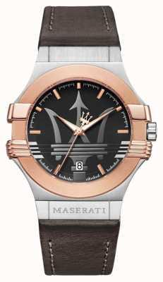 Maserati Mens potenza 42mm | banhados a ouro inox | marrom stra R8851108014