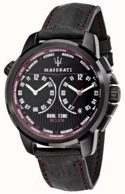 Maserati Mens successo 44mm | mostrador preto | pulseira de couro preto R8851121002