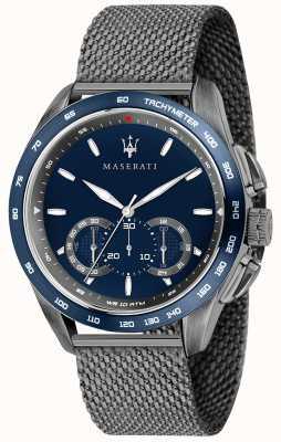 Maserati Mens traguardo 45mm | mostrador azul | pulseira de malha cinza R8873612009