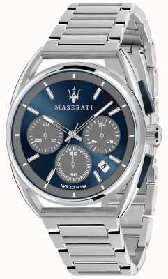 Maserati Mens trimarano 41mm | mostrador azul | pulseira de aço inoxidável R8873632004