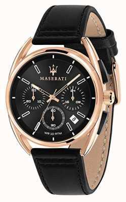 Maserati Mens trimarano 41mm | caso de ouro rosa | mostrador preto | R8871632002