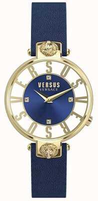 Versus Versace Womens kirstenhof | mostrador azul / branco | pulseira de couro azul VSP490218