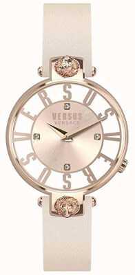 Versus Versace Womens kristenhof | mostrador rosa / branco | pulseira de couro rosa VSP490318