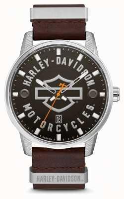 Harley Davidson Mostrador HD masculino com pulseira de couro marrom 76B178