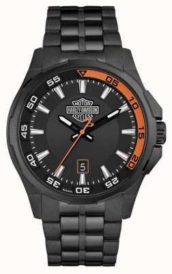 Harley Davidson Painel masculino | mostrador preto | pulseira de aço inoxidável preto 78B141