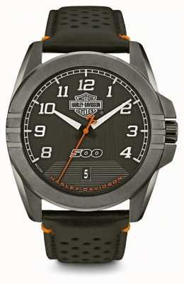 Harley Davidson Mens da rua | mostrador preto | pulseira de couro preto 78B143