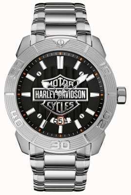 Harley Davidson Mens pulseira de aço inoxidável | mostrador preto 76B169