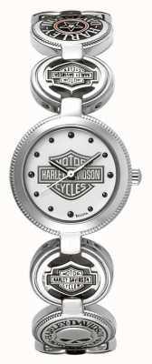 Harley Davidson Relógio de pulso de pulseira de charme das mulheres | aço inoxidável de prata 76L145