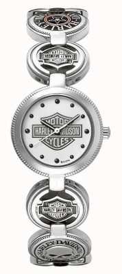 Harley Davidson Pulseira de charme para mulher, relógio de pulso | aço inoxidável prateado 76L145