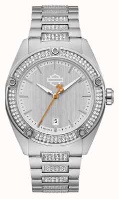 Harley Davidson Conjunto de cyrstal para mulher | pulseira de aço inoxidável | mostrador prateado 76L187