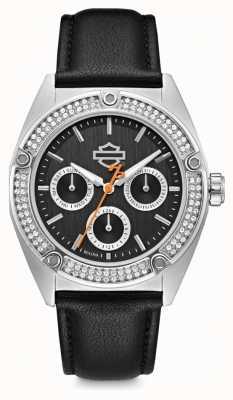 Harley Davidson Conjunto de cristal das mulheres | mostrador preto | pulseira de couro preto 76N102